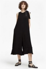FRENCH CONNECTION HIVA CREPE FLARED JUMPSUIT / black crop leg jumpsuits
