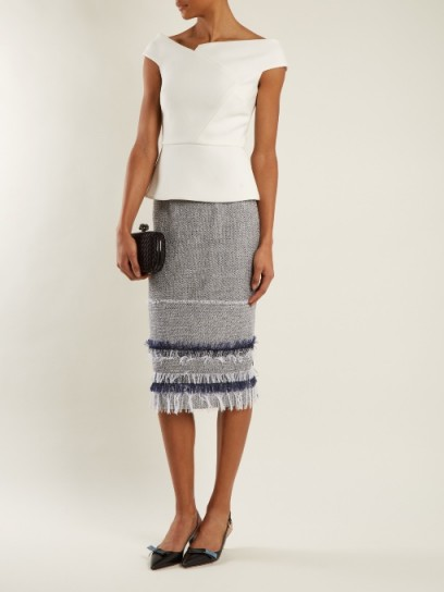 ROLAND MOURET Honeywell raffia-fringe trimmed pencil skirt ~ straight fringed skirts