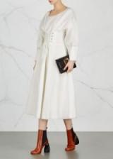 REJINA PYO Irene corset linen blend midi dress ~ white structured dresses