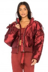 IVY PARK CROPPED SHINE PUFFER in Russet | red shiny padded bomber jackets