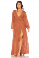 Jen's Pirate Booty LAPIS MAXI DRESS in Rust | long floaty plunging neckline dresses
