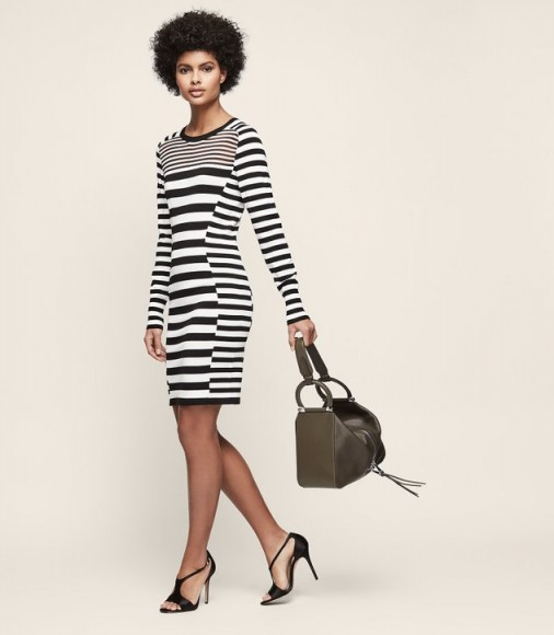 JOLIE KNITTED BODYCON DRESS BLACK/WHITE ~ stylish striped sweater dresses