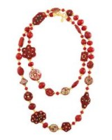Jose & Maria Barrera Mixed Cliosonné Disc Drop Earrings / long red beaded necklaces / statement jewellery