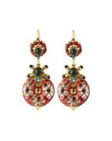 Jose & Maria Barrera Mixed Cliosonné Disc Drop Earrings / colourful ornate jewellery