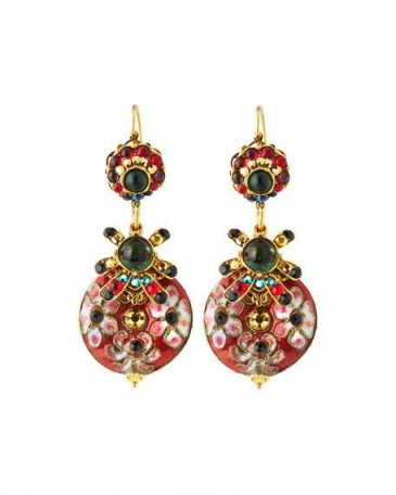 Jose & Maria Barrera Mixed Cliosonné Disc Drop Earrings / colourful ornate jewellery