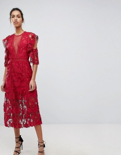 Keepsake Exclusive Floral Lace Midi Dress / red party dresses - flipped