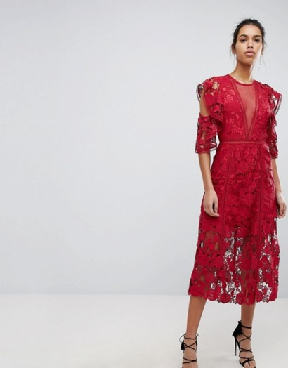 Keepsake Exclusive Floral Lace Midi Dress / red party dresses