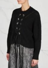 ISABEL MARANT Lacy black cotton blend jumper ~ feminine lace up jumpers