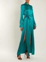 GALVAN Laguna tie-waist silk-satin dress ~ long silky front slit dresses