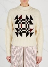 ISABEL MARANT Lawrie chunky-knit cotton blend jumper ~ cream patterned jumpers