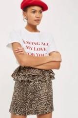 Topshop Leopard Print Ruffle Mini Skirt | animal peplum skirt