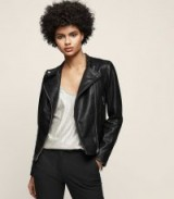 Reiss LETTY COLLARLESS LEATHER BIKER JACKET BLACK ~ chic zipped jackets