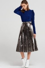 STORETS Lilly Metallic Pleated Skirt | silver skirts