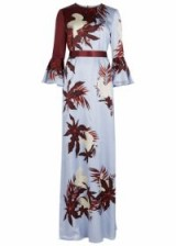 ERDEM Linzea printed silk gown ~ light blue and burgundy bird print gowns