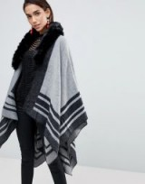 Lipsy Two Tone Faux Fur Cape – chic grey capes