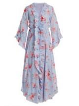 VILSHENKO Maddison button-down silk-habotai dress ~ blue floral frill trim dresses ~ feminine fluted sleeves