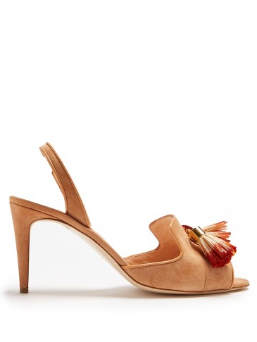 RUPERT SANDERSON Magda tassel suede sandals ~ light-brown tasseled slingbacks