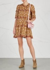 ISABEL MARANT ÉTOILE Maiwenn floral-print cotton dress ~ brown boho dresses