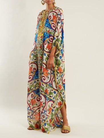 DOLCE & GABBANA Majolica-print silk-satin kaftan ~ luxe printed kaftans