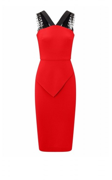 ROLAND MOURET MALTON DRESS POPPY RED-BLACK ~ lace strap pencil dresses