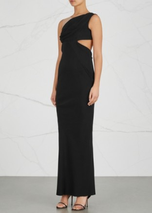 RICK OWENS Maria Clara black cut-out crepe gown ~ elegant column gowns
