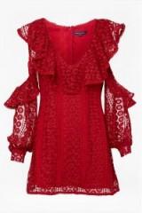 FRENCH CONNECTION MASSEY LACE V NECK DRESS BLAZER RED / cold shoulder dresses