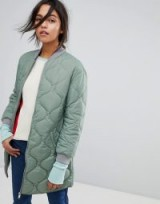 Max&Co Quilted Bomber Jacket – green longline padded jackets