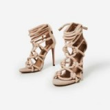 EGO Meghan Rope Detail Lace Up Heel In Nude Faux Suede – strappy heels