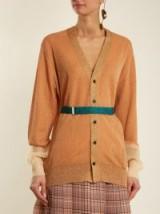 TOGA Mesh-cuff belted cardigan ~ metallic cardigans ~ luxe knitwear