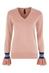 YAS Metallic V-Neck Jumper / pink shimmer jumpers