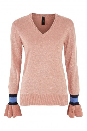 YAS Metallic V-Neck Jumper / pink shimmer jumpers - flipped