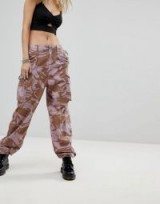Milk It Vintage Over-Dyed Military Trousers | lilac printed cargo pants