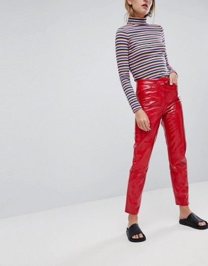 Monki Red Vinyl Trousers