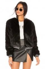 MOTHER THE LETTERMAN FAUX FUR JACKET | black winter fluffy bomber jackets