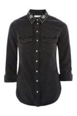 Topshop MOTO Crystal Collar Denim Shirt | black embellished western shirts