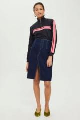 Topshop MOTO Raw Waist Midi Skirt   indigo denim skirts