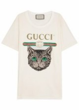 GUCCI Mystic Cat-embellished cotton T-shirt / sequin designer t-shirts / logo embellished tee