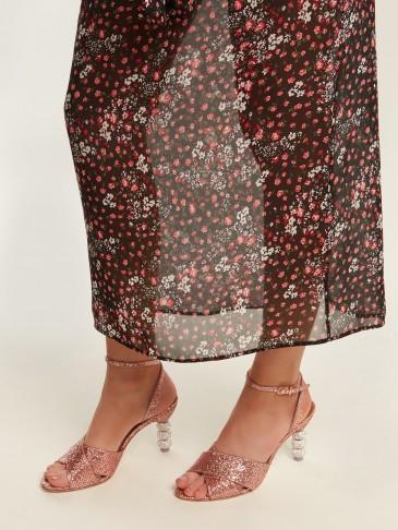 SOPHIA WEBSTER Natalia crystal embellished-heel glitter sandals ~ glittering pink strappy heels