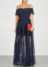 SELF-PORTRAIT Navy off-the-shoulder lace maxi dress ~ long blue sheer occasion dresses