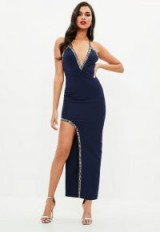 MISSGUIDED navy plunge cross back beaded trim maxi dress – strappy long blue party dresses