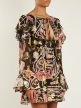 DUNDAS Neck-tie fil coupé silk-blend mini dress ~ open black floral print dresses