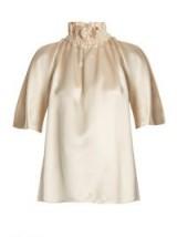 ROKSANDA Neema silk-satin smocked blouse / ivory ruffle neck blouses