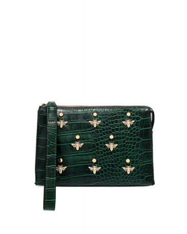 Neiman Marcus Bee Charm Croc-Embossed Faux-Leather Wristlet Pouch / embellished clutch bags / green pouches