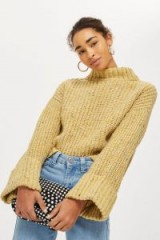 Topshop Neppy Turn Back Jumper   yellow chunky funnel neck jumpers