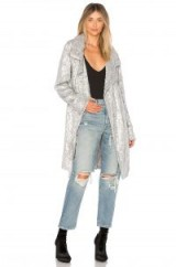 Norma Kamali ALL OVER SEQUIN JACKET | long silver jackets