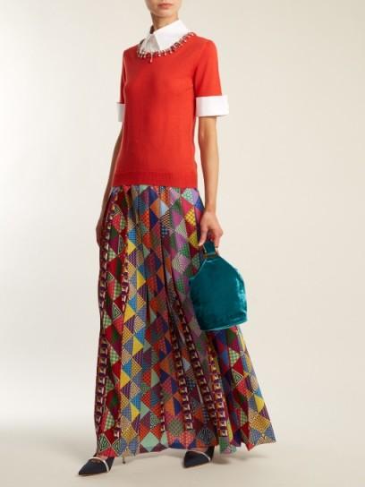 MARY KATRANTZOU Nyx pleated crepe maxi skirt ~ long multi-coloured printed skirts
