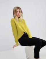 Oasis Cable Knit Roll Neck Jumper   bright green jumpers