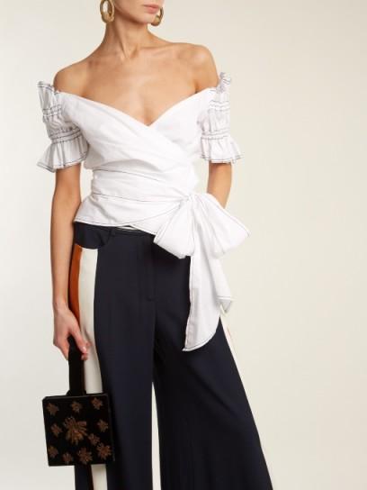 JONATHAN SIMKHAI Off-the-shoulder cotton wrap top