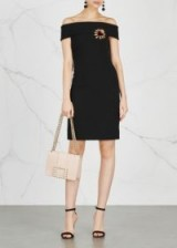 DOLCE & GABBANA Off-the-shoulder embroidered wool dress ~ chic black bardot dresses ~ lbd