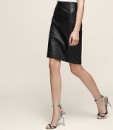 Reiss OLIVIA LEATHER PENCIL SKIRT BLACK ~ classic skirts